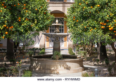 Fountain in the gardens of Real Alcázar de Sevilla - Stock Image