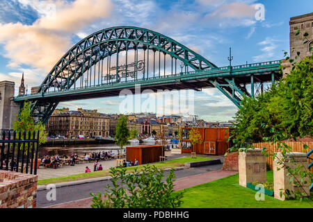 The River Brew Co bar in converted shipping containers under the Tyne Bridge, Gateshead UK. - Stock Image