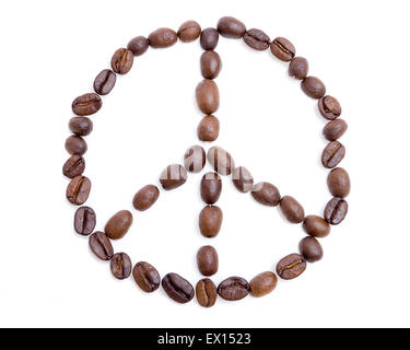 Peace symbol made of coffee beans over white background - Stock Image