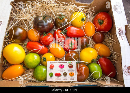 Coloured varieties of heritage tomatoes on French market stall. - Stock Image