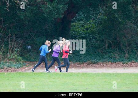 Hastings, East Sussex, UK. 12 Jan, 2019. UK Weather: Winter weather with a slight breeze in the air that is expected to last throughout the day as a few people take a morning stroll around Alexandra park in the heart of Hastings in East Sussex. Three woman jogging in the park. © Paul Lawrenson 2018, Photo Credit: Paul Lawrenson / Alamy Live News - Stock Image