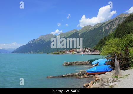 Summer day in Brienz, Switzerland. Lake Brienz and Mount Augstmatthorn. - Stock Image