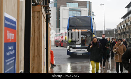 Brighton, UK. 18th Feb, 2019. Rail Replacement buses outside Brighton Railway Station this morning as commuters and travellers heading to and from London had to use them between Brighton and Three Bridges because of the Brighton Main Line Improvement Project which is taking place between 16th and 24th February Credit: Simon Dack/Alamy Live News - Stock Image