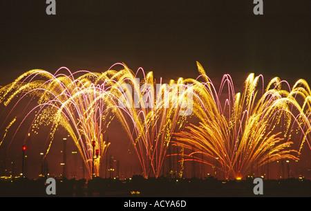 Zurich new years eve Firework at night dark sky  - Stock Image