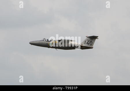 Saab 105 is a Swedish high-wing, cold war trainer aircraft - Stock Image