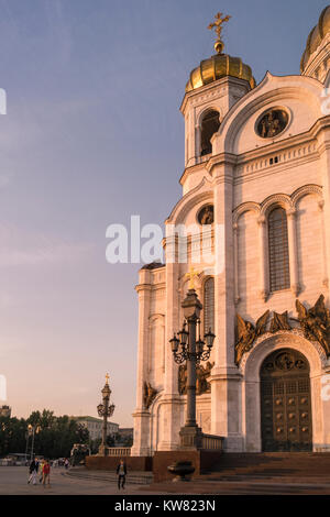 Rebuilt in the 1990s, the exterior facade of Cathedral of Christ the Saviour, in late evening light, Moscow, Russia. - Stock Image