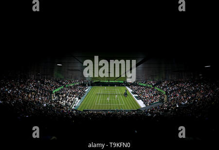 Lleyton Hewitt and Pat Cash play against Goran Ivanisevic and Jamie Murray on No.1 court at The All England Lawn Tennis Club, London. - Stock Image