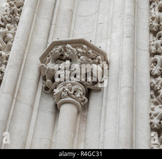 Close up decorative feature on the exterior of Seville Cathedral, Seville, Andalucia, Spain - Stock Image