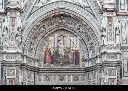 Detail of Santa Maria del Fiore cathedral at sunrise, UNESCO World Heritage Site, Florence, Tuscany, Italy, Europe - Stock Image