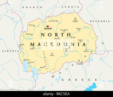 North Macedonia political map with capital Skopje, borders, important cities, rivers and lakes. Former Yugoslav Republic of Macedonia, renamed 2019. - Stock Image