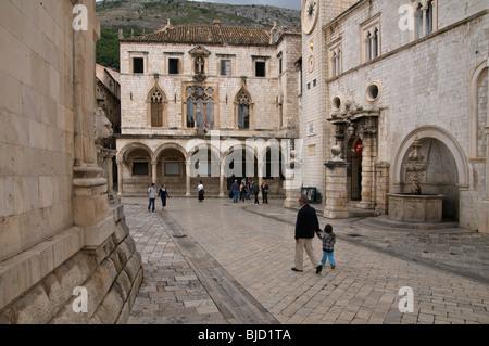 Placa Stradum near to the Sponza palace Dubrovnik Dalmatia Croatia - Stock Image