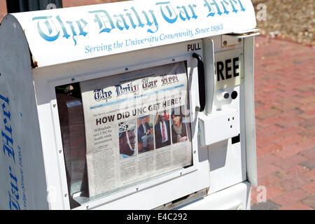 University of North Carolina at Chapel Hill, UNC, in trouble. News stand with the Daily Tar Heel University newspaper. - Stock Image