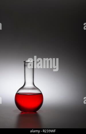 Laboratory Flask Vial With Red Liquid Solution - Stock Image