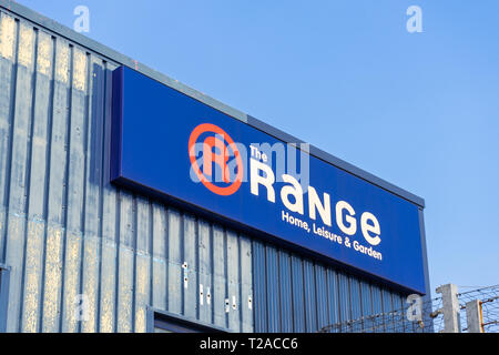 A blue The Range sign at a Range store in Southampton 2019, England, UK - Stock Image