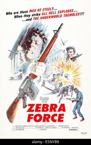 ZEBRA FORCE, US poster art, 1976 - Stock Image