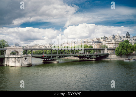 View of a bridge over the river Seine near the Eiffel Tower in Paris, France. - Stock Image
