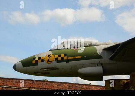 Hawker Hunter at Paull Museum, gun battery, artillery, coastal fortifications - Stock Image