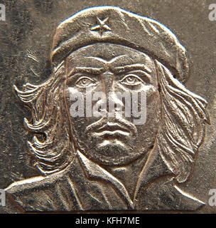 Che Guevarra on Cuban coin. Detail. CUBA - Stock Image