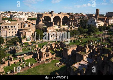 Ancient Rome city skyline from Palatine Hill, Rome, Lazio, Italy, Europe - Stock Image