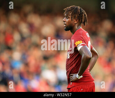 Prenton Park, Birkenhead, Wirral, UK. 11th July 2019. Pre-season friendly football, Tranmere versus Liverpool; Divock Origi of Liverpool watches play Credit: Action Plus Sports Images/Alamy Live News - Stock Image
