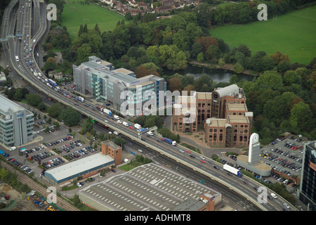 Aerial view of the EMC Tower and Park View in Brentford overlooking the M4, Gunnersbury Park and the Great West Road - Stock Image