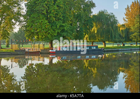 Early autumn reflections on the River Avon in Stratford upon Avon, Warwickshire - Stock Image