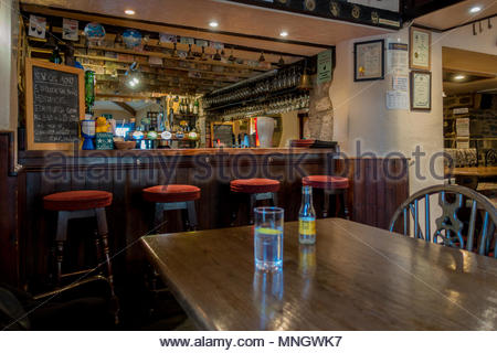 Interior of the Ring o'Bells, a public house in the village of Ashcott near Glastonbury, Somerset, UK - Stock Image