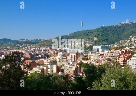 Barcelona, Spain, October 2018. Hillside apartments seen from Gaudi's Park Guell. - Stock Image