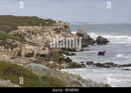 Rugged beauty of Burns Beach along Indian Ocean coast north of Perth in Western Australia - Stock Image