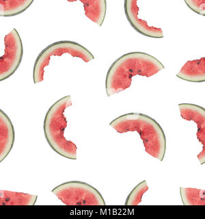 Seamless pattern of slices of watermelon being eaten isolated on white background - Stock Image