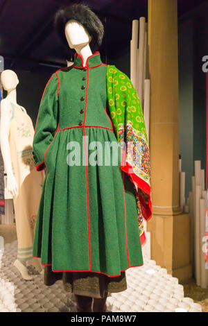 Display of a Cossack Style dress and fur hat from the Yves St. Laurent collection autumn winter 1976 at the Catwalk Exhibition at the Bowes Museum 201 - Stock Image