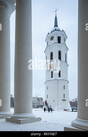 Bell tower of Vilnius Cathedral in winter. - Stock Image