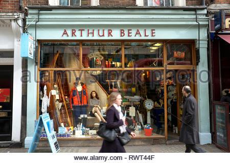 Arthur Beale shop - yacht chandler in Shaftesbury Avenue, central London, UK. - Stock Image