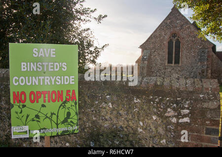 No Option 5A protest sign outside St. Mary's church objecting to the new Arundel bypass, Binsted, West Sussex. Binsted is a village steeped in folklor - Stock Image