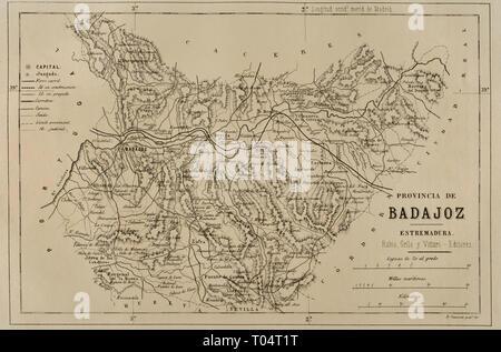 Map of the province of Badajoz. Extremadura, Spain. Cronica General de España, Historia Ilustrada y Descriptiva de sus Provincias. Extremadura, 1870. - Stock Image
