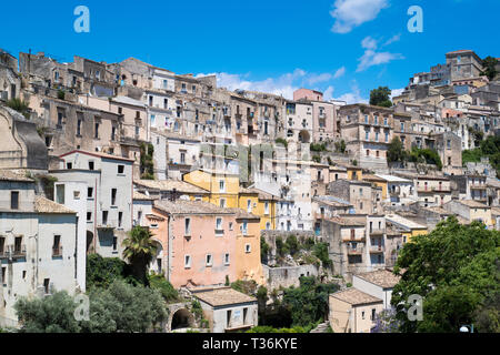 Aerial view of Ragusa Ibla, a famous hill town in South East Sicily - Stock Image