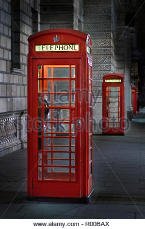 Red telephone box in London - Stock Image