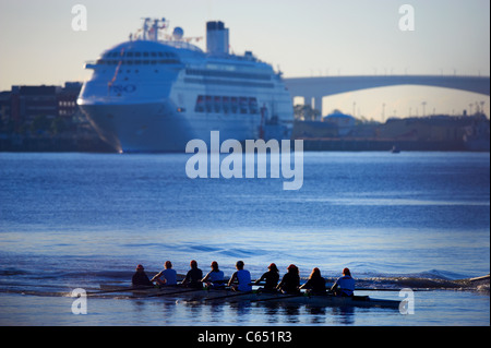 Rowing 8 on the Brisbane River Queensland Australia - Stock Image
