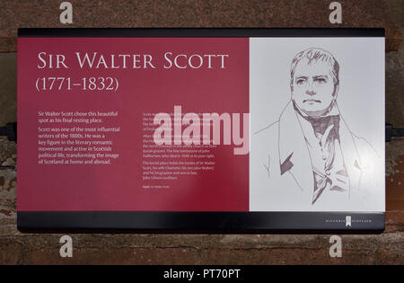 Descriptive plaque. Grave of Sir Walter Scott. Dryburgh Abbey. Dryburgh, St.Boswells, Roxburghshire, Scottish Borders, Scotland, United Kingdom. - Stock Image