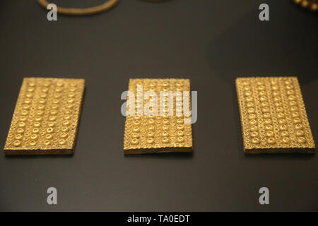 Treasure of El Carambolo. Tartessian and Phoecian culture. 5th-7th century BC. Camas, Andalusia, Spain. Archaeological Museum of Seville. Spain. - Stock Image