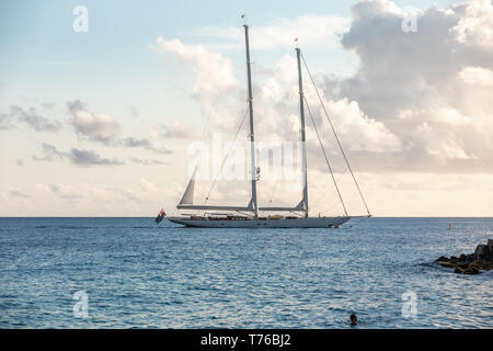 large private sailing yacht off the coast of St Barts - Stock Image
