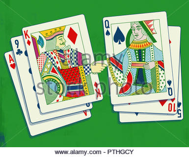 King and queen shaking hands from two hands of playing cards - Stock Image