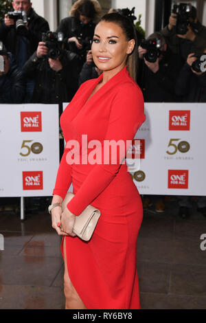 London, UK. 12th Mar, 2019. LONDON, UK. March 12, 2019: Jessica Wright arriving for the TRIC Awards 2019 at the Grosvenor House Hotel, London. Picture: Steve Vas/Featureflash Credit: Paul Smith/Alamy Live News - Stock Image