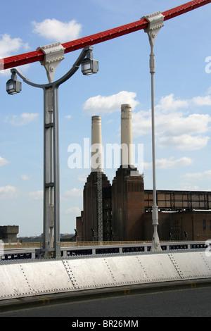 Battersea Power Station from Chelsea Bridge, River Thames, London, UK - Stock Image