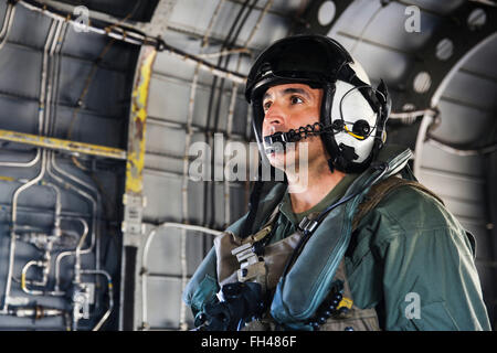 Sgt. Maj. Richard Charron, sergeant major of Marine Corps Air Station Miramar, Calif., goes on his final flight - Stock Image