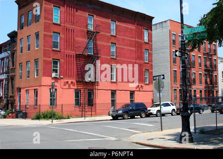 NEW YORK, NY - JUNE 30: Do The Right Thing Way on the corner of Lexington Avenue and Stuyvesant Street in Bedford-Stuyvesant, where Spike Lee's acclai - Stock Image