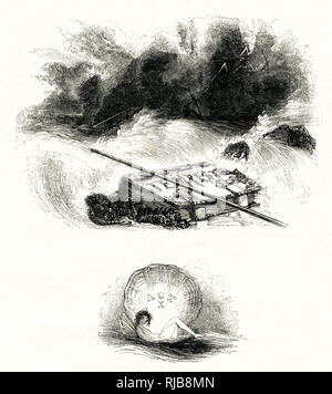 Illustration by Kenny Meadows to The Tempest, by William Shakespeare. The storm at sea, watched by Ariel. - Stock Image