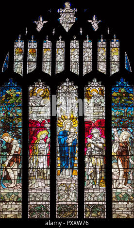 Christopher Whall's first stained glass window (1891) in St Mary's Church, Stamford, UK - Stock Image