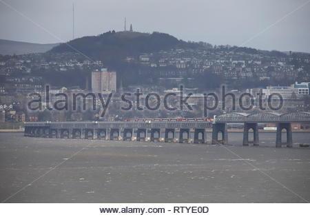High speed LNER train crossing Tay Rail Bridge Scotland  February  2019 - Stock Image