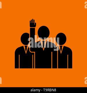 Voting Man With Men Behind Icon. Black on Orange Background. Vector Illustration. - Stock Image